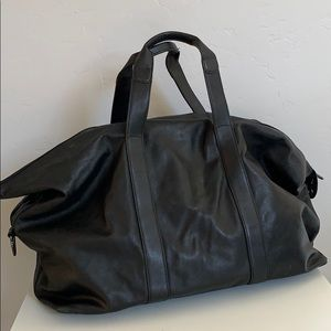 Tumi Black Leather Duffle Bag